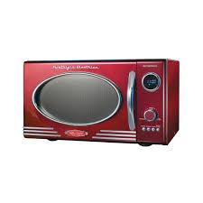 Nostalgia Electrics Retro Series 09 Cu Ft Countertop Microwave In Red