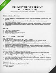 Delivery Driver Combination Resume Sample