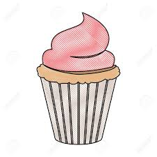crayon silhouette of hand drawing color cupcake with pink buttercream decorative vector illustration Stock Vector