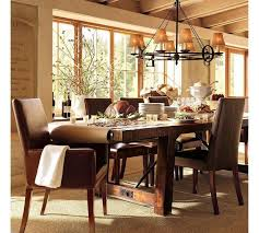Delightful Asian Inspired Dining Room Design Ideas With Brown Leather Chairs And Wooden Table Also Chenille Rug Plus Cone Hanging Lamp