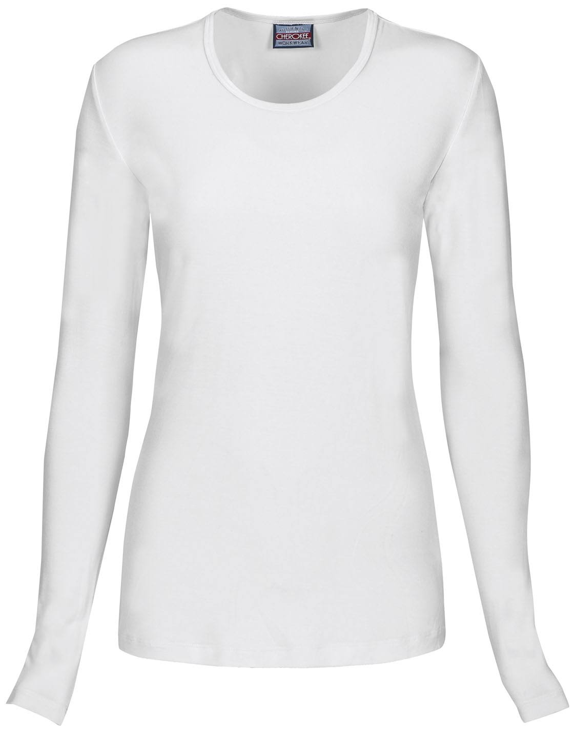 Cherokee Women's Workwear Long Sleeve Under Scrub Knit Tee - White, X-Large