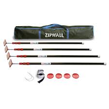 Ceiling Curtain Track Home Depot by Zipwall Zp4 Contains 4 10 Ft Steel Spring Loaded Poles 4 Heads 4