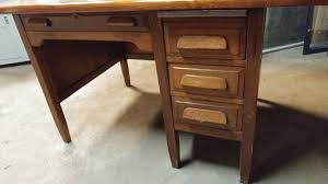 antique teachers desk w walnut top oak base cool desk long