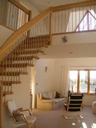 Plush Wooden Banister Rail Stair As Decorate Modern Staircase Over Fabric Sofa And White Accent Wall Interior Loft Designs Ideas