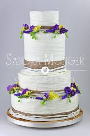 Rustic Wedding Cake With Hessian Ribbon And Handmade Lavender Freesias Forsythia