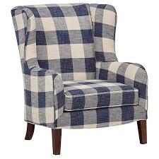 Stone & Beam Sadie Blue Plaid Living Room Wingback Accent Chair, 33