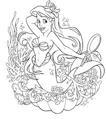 Coloring Pages Printable Princess Ariel Print Mermaid Design Sketch Flowers Weed Ocean Underwater Life Cartoon