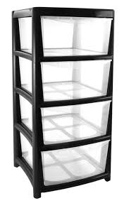 Plastic Drawers On Wheels by 4 Drawer Large Plastic Storage Drawer Tower Black Perfect For