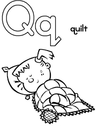 Capital Letter Q For Quilt Coloring Page Preschool Kids