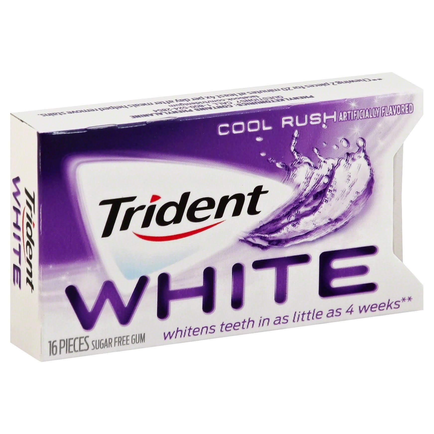 Trident White Sugar Free Gum - Cool Rush