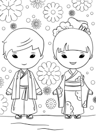 Click To See Printable Version Of Japanese Boy And Girl Coloring Page