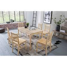 wohnling esszimmer set emil 7 teilig kiefernholz landhaus 120x73x70 cm essgruppe tischgruppe esstischset