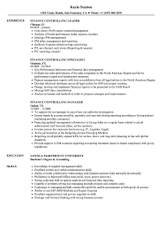 Download Finance Controlling Resume Sample As Image File