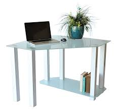 Tempered Glass Computer Desk by Frosted Tempered Glass Gloss White Corner Computer Desk Rta Ct 013w