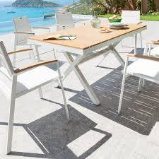 salon de jardin bois blanc table jardin metal pliante trendsetter