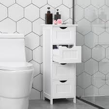 vasagle badschrank weiß mit 4 schubladen 82cm aus holz schmaler badezimmerschrank freistehend badkommode hochschrank lhc40w