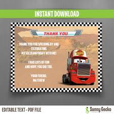 Disney Cars Mack 7x5 In. Birthday Party Invitation With FREE ...