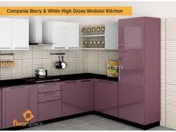Campania Berry White C Shaped Modular Kitchen