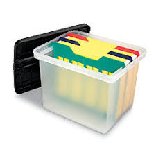 ficeMax Letter File Box with Dividers Clear Black by fice