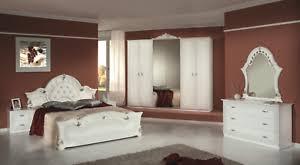 details zu italienisches schlafzimmer komplett set weiß silber hochglanz klassische möbel