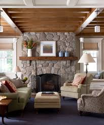 Diy Country Home Decor Ideas Living Room Traditional With Stone Fireplace Surround Tan Walls White Wood
