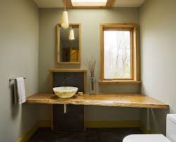 Modern And Minimal Bathroom With Asian Influences Live Edge Vanity Design Studio III
