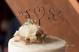 Rustic Cake Topper Wire Arrow Initials
