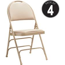 Samsonite Comfort Series Steel & Vinyl Folding Chair - Vinyl Neutral Seat -  Vinyl Neutral Back - Tubular Steel Natural Frame - Four-legged Base - ... Set Of 4 Mid Century Samsonite Folding Chairs White And Comfort Series Steel Vinyl Chair Neutral Seat Back Tubular Natural Frame Fourlegged Base John Lewis Partners Henley By Kettler Outdoor Recliner Grey 2000 Injection Mold Fanback Black Trolley 41l X 19w 77h 2200 Polypropylene Tempered Powder Coated 4000 New Stackable Plastic Catering Marquee Garden Blue Burgundy In Heathrow Ldon Gumtree Sml497541050