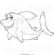 Coloring Page Outline Design Of A Mean Shark