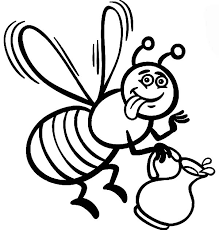 Honey Bee Cartoon For Coloring Book Page