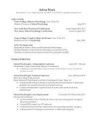 Resume For Recent Graduate Sample New Psychology Psychologists Block North Ave A Highland Park