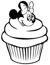 Minnie Mouse Cupcake Coloring Page