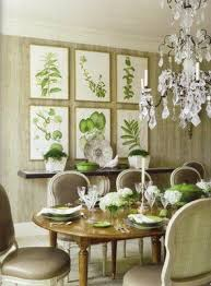 A Cream And Green Geometric Rug Complements Botanical Prints China In The Dining Room Of California House Designed By Richard Hallberg