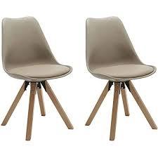 duhome 2er set stuhl esszimmerstühle küchenstühle farbauswahl mit holzbeinen sitzkissen esszimmerstuhl retro 518m farbe beige material kunstleder