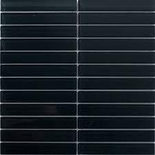 glass tile 1x6 inch charcoal black glass subway tile