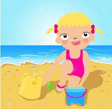 Little Girl Making Sand Castle At Tropical Beach Stock Vector
