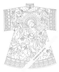 Printable Coloring Page Chinese Bird Coat Por Emerlyearts En Etsy