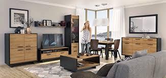 wohnwand schrankwand wohnzimmer möbel lovio schwarz eiche led komplettes set