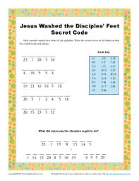 Jesus Washes The Disciples Coloring Page Washed Secret Code Bible Activities