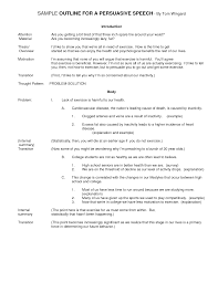 Best s of Persuasive Speech Outline Template Persuasive