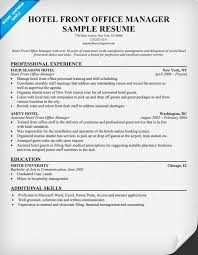 hotel front office manager resume resumecompanion com travel