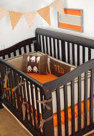 Bratt Decor Crib Hardware by Rustic Crib Bedding With Burlap And Brown Fabrics And Orange For