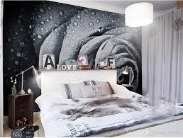 großhandel benutzerdefinierte größe 3d fototapete wohnzimmer schlafzimmer schwarz weiß wassertropfen rosebild sofa tv hintergrund tapete wandbild