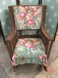 Antique Rattan Rocking Chair With Cushioned Seat And Floral Pattern ... Vintage Exposed Wood Rocking Chair With Upholstered Seat By Antique Open Arm Rocking Chair Upholstered Seat And Back Summer Days Wooden Mahogany Lincoln Rocker Sell 6 Needlepoint Covers Upholstery From Vulcanlyric Amazoncom Fniture Of America Betty Oak With Cane And Back Ebth Hcom Lounger Relaxing Padded Love Shop Quality Hospality Rattan Legacy Cushioned Outdoor Interior Design