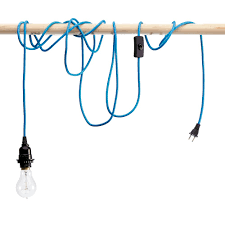 electric blue pendant cord with light bulb socket home