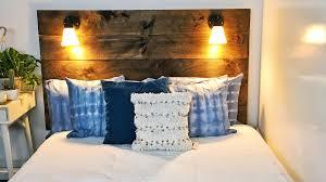 Headboard Lights For Reading by Diy Bedroom Projects Shibori Pillows Rug Lamp Headboard
