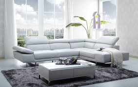 1717 leather sectional sofa in light grey color by j m furniture