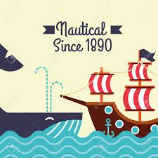 100 Design A Pirate Ship Nautical Maritime Design Whale Ocean Pirate Ship Vector Illustration