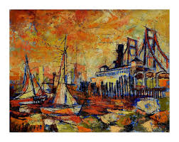 Lifetime 10x8 Sentinel Shed by John Gill San Francisco Harbor Mid Century Modern Painting For