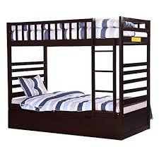 Twin Over Twin Bunk Beds With Trundle by Bunk Bed Twin Over Twin With Trundle Bed And End Ladder In Espresso